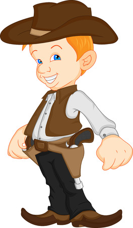 boy wearing western cowboy costume Vector