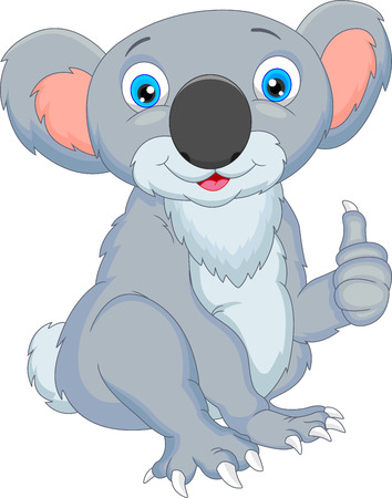 cute koala cartoon thumbs up Vector