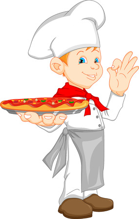 boy chef cartoon holding pizza Vector