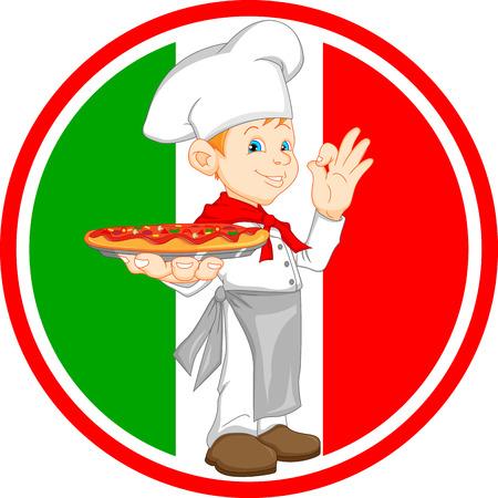 kiddies: ni�o de dibujos animados chef sosteniendo pizza
