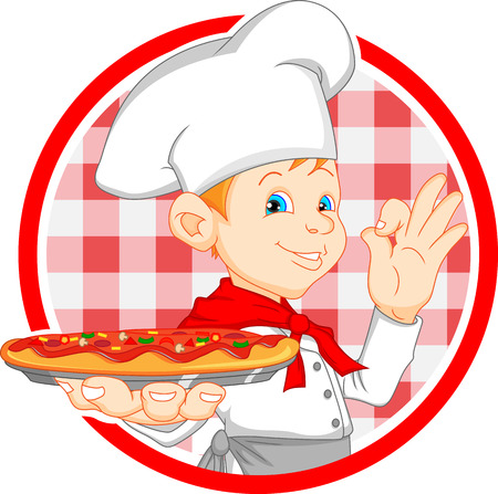 skillet: boy chef cartoon holding pizza