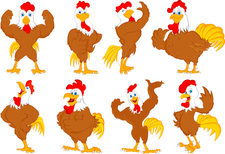 various rooster cartoon Vector
