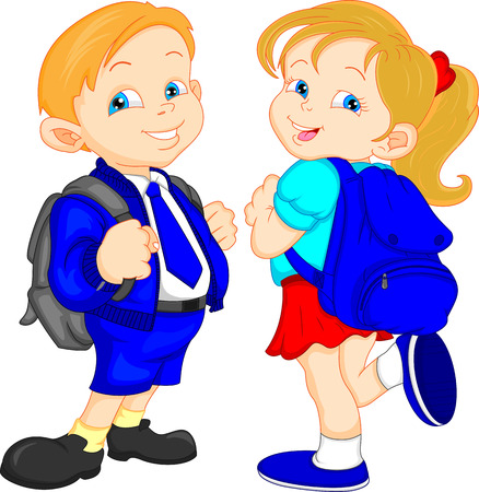 cute school boy and girl Vector