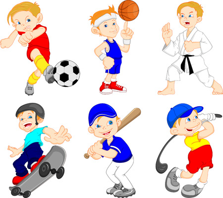 hit: Funny boy cartoon character doing sport  Illustration
