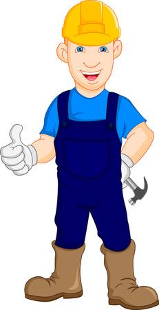 arquitecto caricatura: Reparador del trabajador de construcción