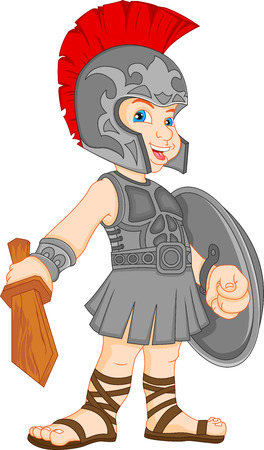 the romans: boy wearing roman soldier costume Illustration