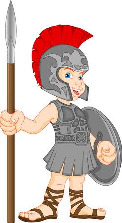jongen dragen Romeinse soldaat kostuum