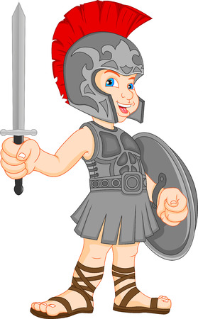 boy wearing roman soldier costume Ilustrace