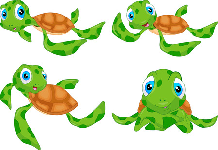 various cute sea turtle cartoon   イラスト・ベクター素材