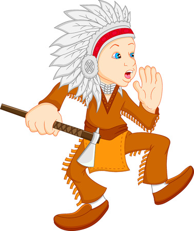 indian weapons: boy wearing american indian costume