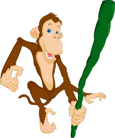 tanzen cartoon: niedlichen Affen h�ngen