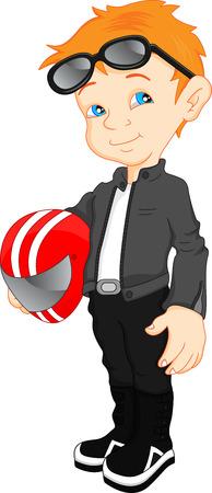 biker boy cartoon holding helmet