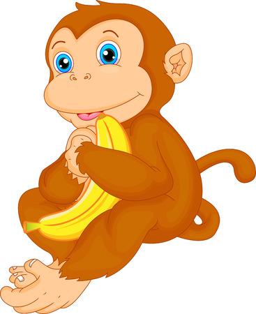 Niedlichen Affen Cartoon und Banane Standard-Bild - 31435927
