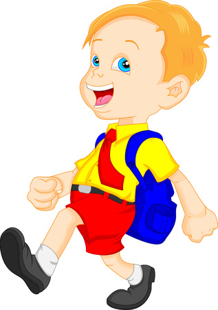 funny school boy with bag Illustration