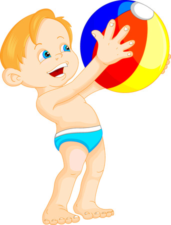 beach side: funny boy with beach ball