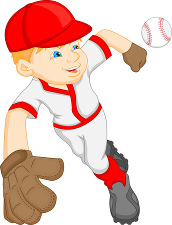 baseball stadium: boy cartoon baseball player Illustration