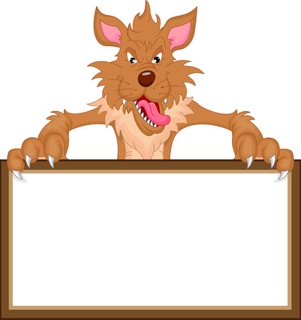 wolf cartoon and blank sign
