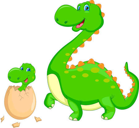 Mother and baby dinosaur hatching