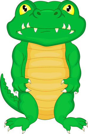 doodle art clipart: cute baby crocodile cartoon