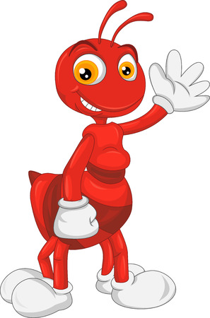 red ant: cute ant cartoon waving Illustration
