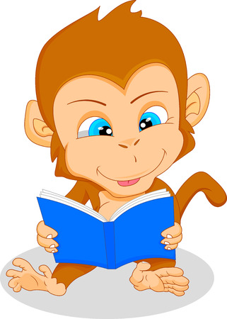 thumping: cute baby monkey reading