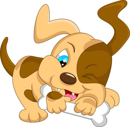 short haired: cute baby dog cartoon with bone
