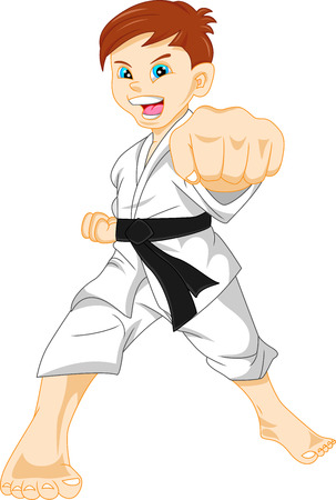child smiling: karate boy Illustration