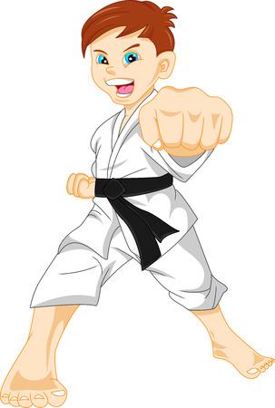 patada: karate ni�o Vectores