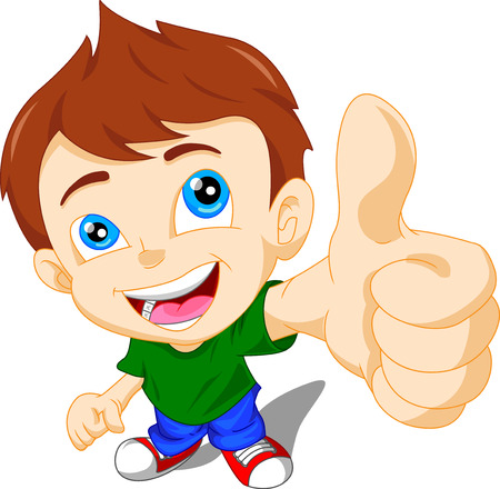 cute little boy giving you thumbs up Ilustracja