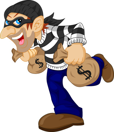 felony: Thief carrying bag of money with a dollar sign