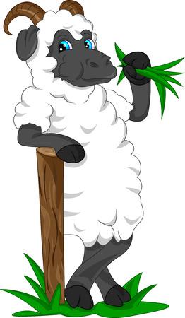 sheep love: cute goat cartoon Illustration