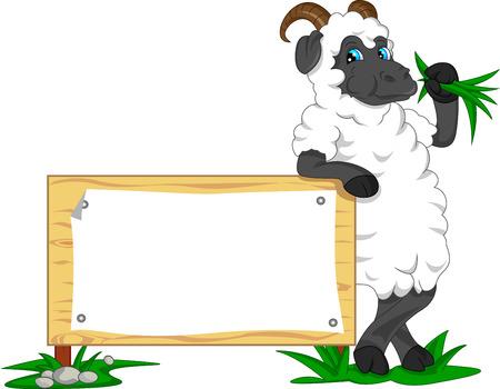 cute goat cartoon with blank sign Vector