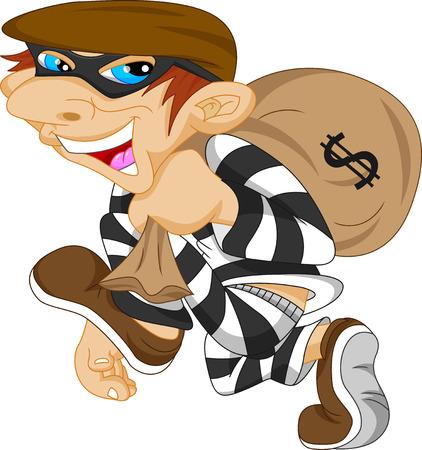 泥棒はドル記号でお金の袋を運ぶ