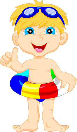 Boy with inflatable circle thumb up Vector