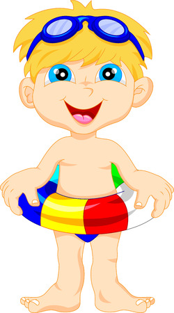 Boy with inflatable circle Vector
