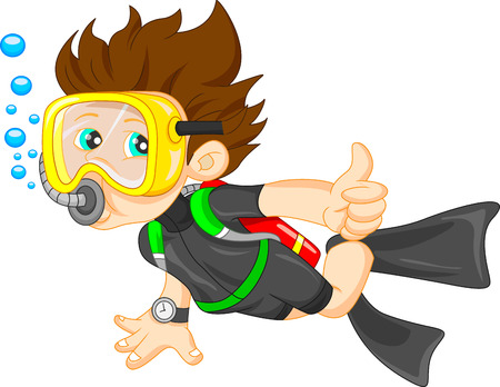 young boy in pool: diver boy thumb up Illustration