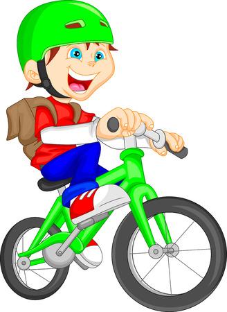 cute boy riding bicycle 일러스트