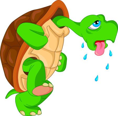 cute green turtle cartoon  イラスト・ベクター素材