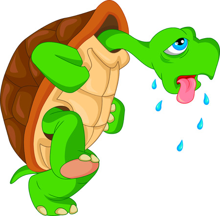 cute green turtle cartoon Ilustrace