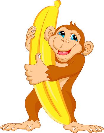 tanzen cartoon: niedlichen Affen Karikatur