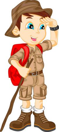 niño con mochila: lindo chico excursionista Vectores