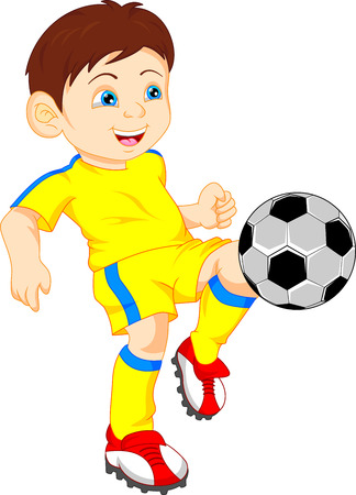 football kick: cute boy soccer player