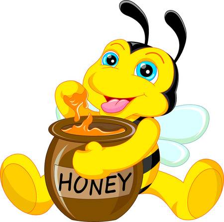 bee pollen: funny bee cartoon with honey