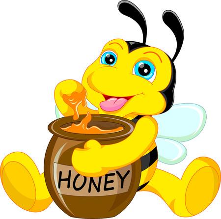 bee on flower: funny bee cartoon with honey