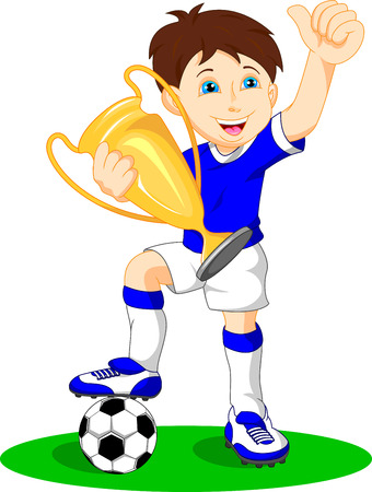 football kick: cute boy soccer player holding gold trophy