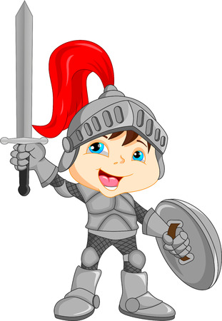 Cartoon knight boy Vector