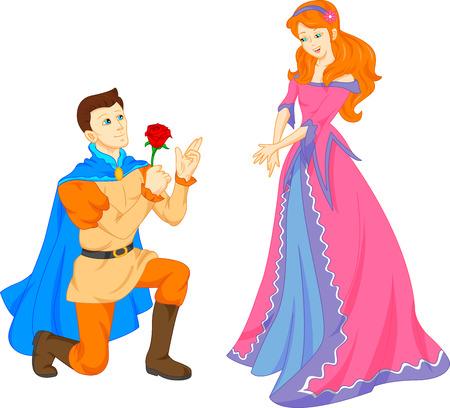 prin: príncipe azul y bella princesa Vectores