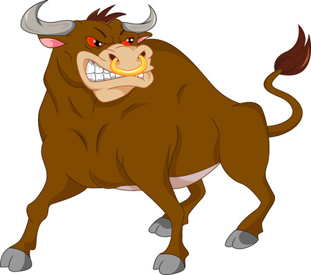 raging: angry bull cartoon