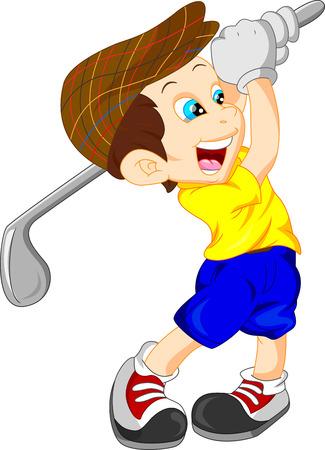 leuke jongen cartoon golf speler