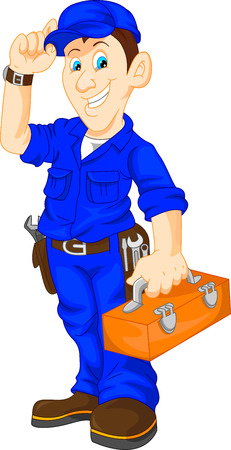 handyman: mechanic holding utility box